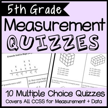 Measurement and Data Quiz Bundle, 5th Grade Math CCSS Aligned, 10 quizzes!