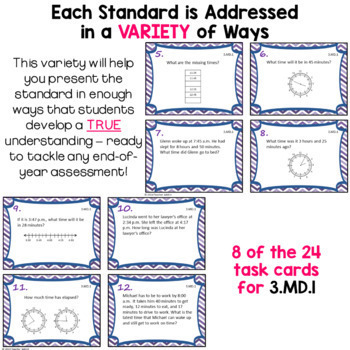 Measurement and Data Task Card Bundle - 3rd Grade 3.MD.1 - 3.MD.8
