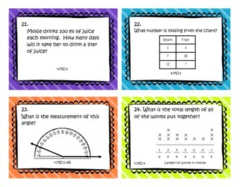 Measurement and Data Task Cards - Fourth Grade Common Core Math Review