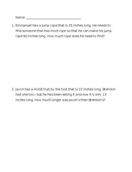 Measurement Word Problem FREE