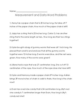 Measurement and Data Word Problems