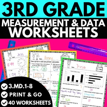 Third Grade Measurement and Data Worksheets