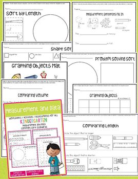 Measurement and Data Worksheets / Activities for Kindergarten - Common Core