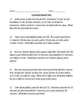 Measurement and Elapsed Time Calculations Word Problems