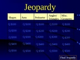 Measurement and Geometry Jeopordy Review