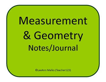 Measurement and Geometry Notes/Journal