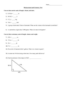 Measurement and Geometry Test