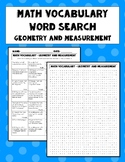 Measurement and Geometry Vocabulary Word Search