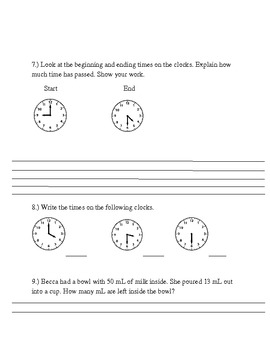 Measurement and data assessment Common Core Standards 3.MD.1 and 3.MD.2