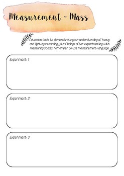 Measurement extension task printable template