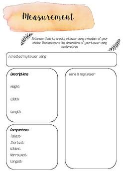 Measurement extension task printable template