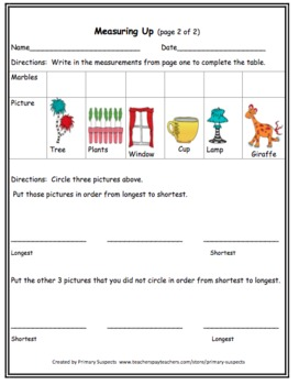 Measurement for First Grade and Kindergarten Common Core Aligned