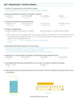 Measurement in Physics Practice Problems
