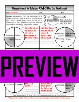 Measurement in Science Odd One Out Worksheet