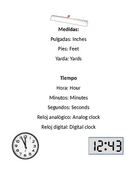 Measurement key words in Spanish and English *Dual Language