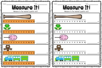 Measurement! nearest inch, half inch, quarter inch and eighth inch!