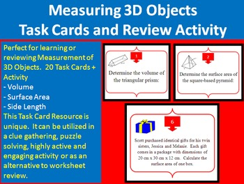 Measurement of 3D Objects - Task Cards and UNIQUE Activity {Common Core}