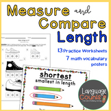 Measurement of Length 1st Grade Worksheets and Vocabulary- enVision Topic 12