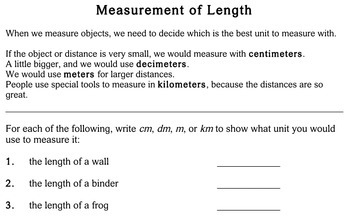 Measurement of Length, 3rd grade - worksheets - Individualized Math