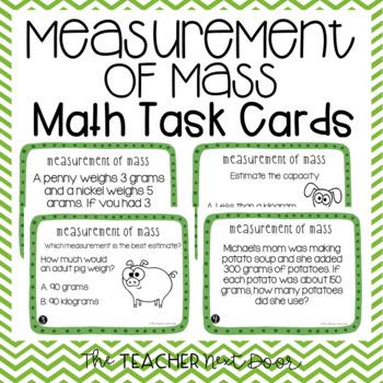 Measurement of Mass Task Cards   Grams and Kilograms Math Center