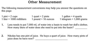 Measurement of Mass and Capacity, 3rd grade - Individualized Math - worksheets