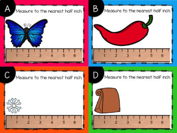 Measurement to the Nearest Half Inch Task Cards {Digital}