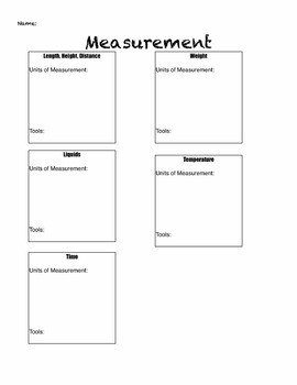 Measurement tools and units-Brainstorm sheet and Game