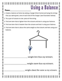 Measurement- using a balance to compare weights