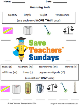 Measurement vocabulary (metric) lesson plans, worksheets and more