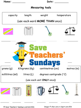 Measurement vocabulary (metric) worksheets (2 levels of difficulty)