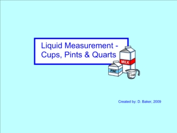 Measurement  with Cups, Pints, and Quarts Smartboard