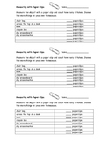 Measurement with Paper Clips - Non-Standard Units Worksheet