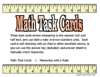 Measurement with a Ruler and Non Standard Units Task Cards