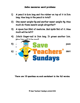 Measurement Word Problems (metric) Worksheets (3 levels of difficulty)