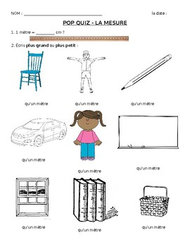 Measurement worksheet/quiz