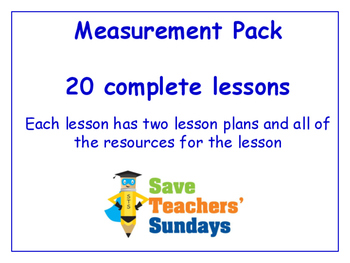 Measurements Lessons Bundle / Pack (20 Lessons for 2nd to 4th grade)