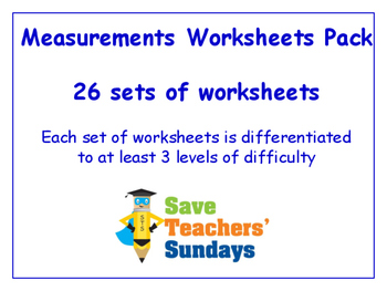 Measurements Worksheets Bundle / Pack (26 sets for 2nd to 4th grade)