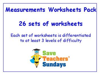 Measurements Worksheets Bundle / Pack (26 sets for 2nd to
