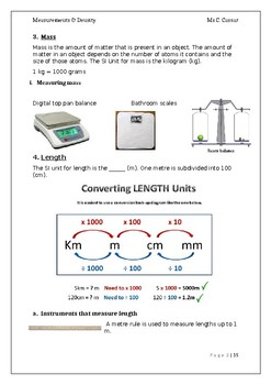 Measurements and Density