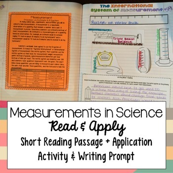 Measurements in Science Reading Comprehension Interactive Notebook