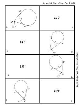 Measures of Arcs Matching Card Set