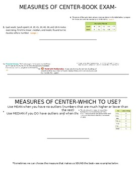 Measures of Center Foldable