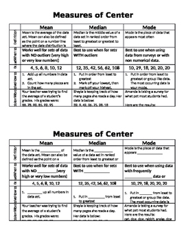 Measures of Center - Mean, Median, Mode Guided Notes
