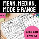 Mean, Median, Mode, Range Notes & Practice   Measures of C