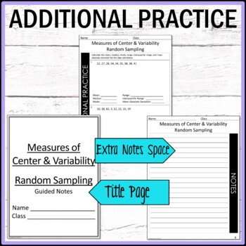 Measures of Center, Measures of Variability and Random Sampling Guided Notes