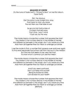 Measures of Center Song (Taylor Swift, Picture to Burn) (Lyrics, Video, Worksht)