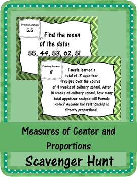 Measures of Center and Proportions Scavenger Hunt
