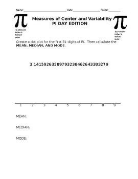 Measures of Center and Variability Pi Day