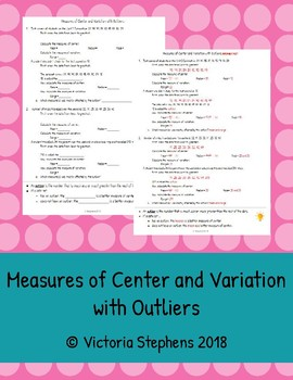 Measures of Center and Variation with Outliers