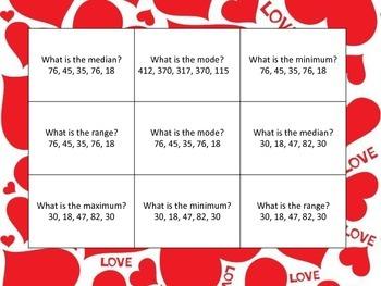 Measures of Central Tendencies Data Valentine's Center Games CC Test Prep